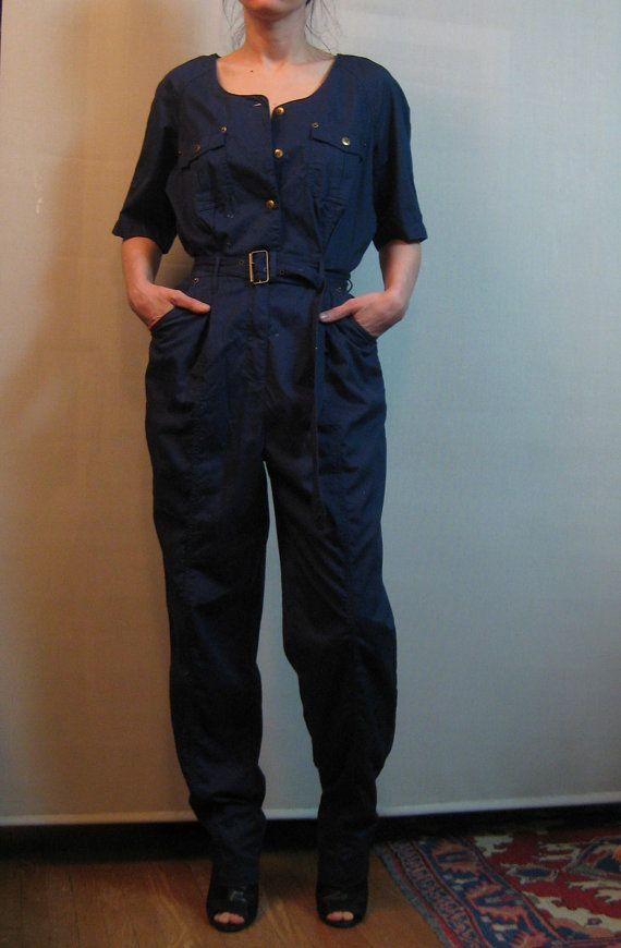 80s COTTON NAVY JUMPSUIT vtg Blue Belted Short by retasroses