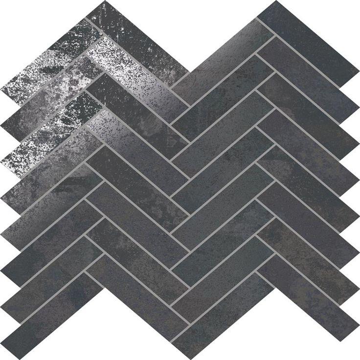 STELLAR STEEL HERRINGBONE  #blackwhite #interiordesign #modernstyle #classicstyle #herringbone #porcelaintile #floortile
