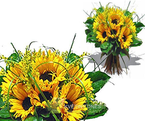 Letní slunečnice Květiny online - květinářství Praha Pankrác - netradiční kytice, dárky pro muže, dárkové koše, ovocné kytice. Pro ženy čerstvé řezané růže, Holandské tulipány, gerbery. Rozvoz květin.