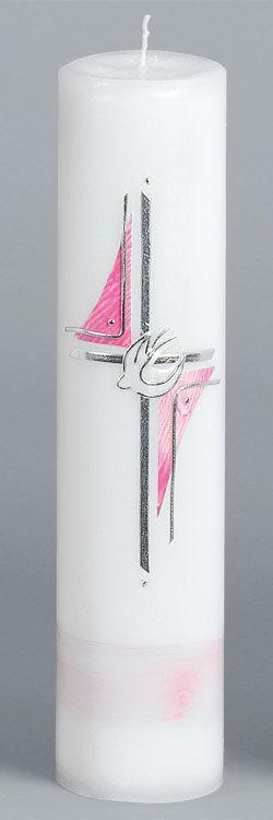Taufkerze, Nr. 2018, Trendkerze, Höhe=300mm, Ø=70mm, rosa, silber