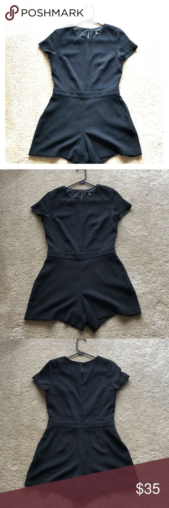 Black Banana Republic Romper - Size 2 Adorable black romper with sleeves, shorts, and key hole back. Easy to accessorize with! Worn one time for bachelorette party, excellent condition. Petite! Banana Republic Other