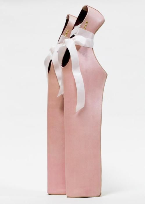 "Ummm...ow.   ""Lady Pointe"" shoes custom made by Noritaka Tatehana. At 18 inches they are the second highest pair of shoes Noritaka Tatehanaha ever crafted for Lady Gaga."