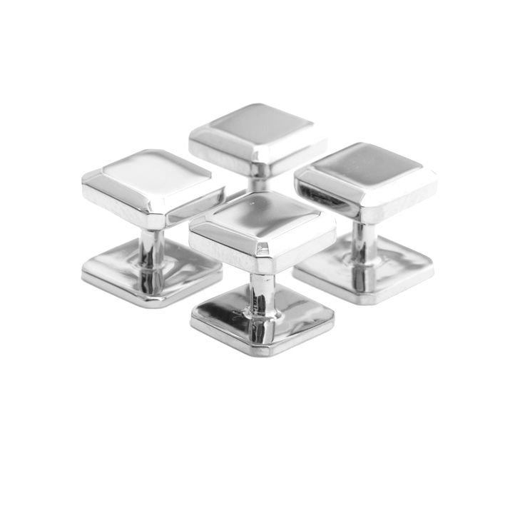 Classic shirt studs inlaid with Bevelled Square Studes - de rigeur for all formal occasions.  Comes in four pieces for evening shirts that require studs to create an exquisite finish. #Studs #Silver #Eveningwear