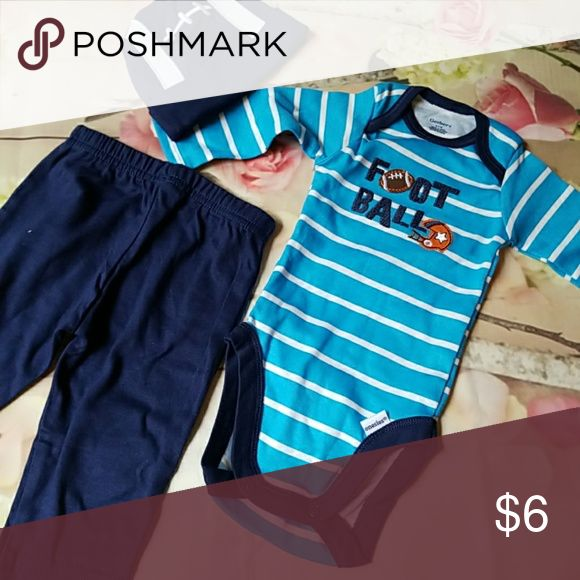Nwt gerber 3 piece outfit boys 0-3 New with tags 3 piece Gerber set Boys 0-3 months Includes: Football cap Cotton pants Long sleeve football bodysuit Gerber Matching Sets