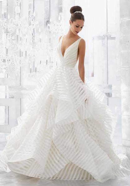 Blu by Morilee 5577 Milly V-Neckline Flounced Organza Ball Gown Wedding Dress – …