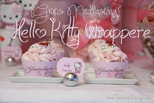 Free printable! Hello Kitty cupcake wrappers =) Gratis print - hello kitty cupcake wrappers perfekt til barnebursdag!