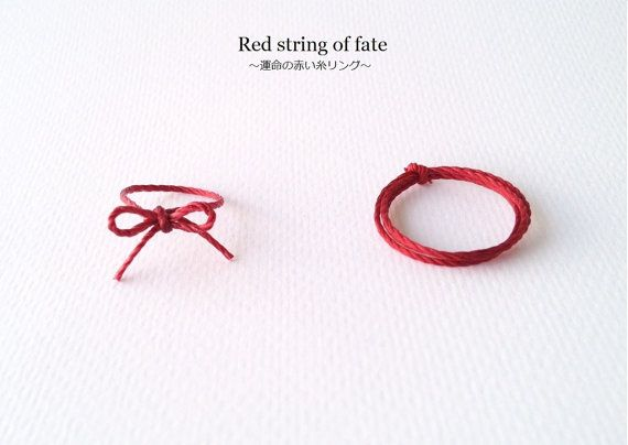 red string of fate ring durable red string ring ribbon by megushop want pinterest ring. Black Bedroom Furniture Sets. Home Design Ideas