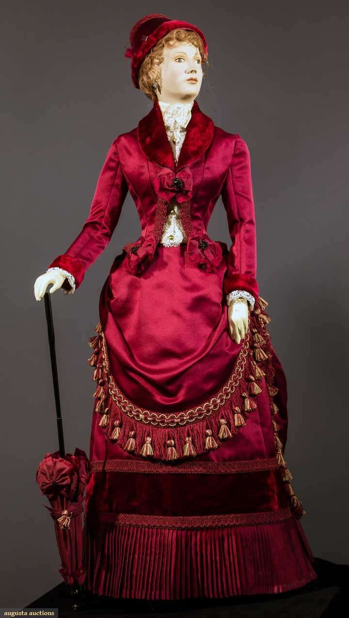 1885 Fashion Mannequin By John Burbidge   I've noticed from studying a number of actual dresses from this period that the trim is often similar to trim we now use for draperies and upholstery.