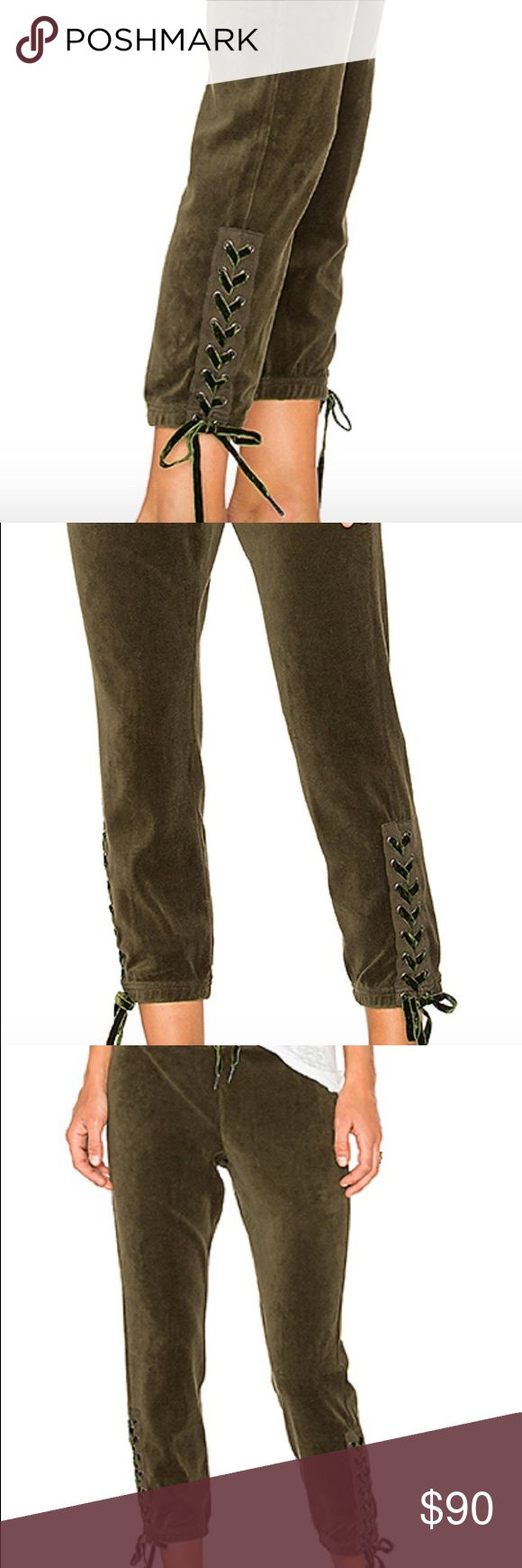 PAM & GELA Olive Green Velour Lace Up Sweat Pant S Brand new PAM & GELA olive velour stretchy waist drawstring waist pant with lace up Capri length sides. Super cute and can be worn casually or even dressed up! PAM & GELA Pants Track Pants & Joggers