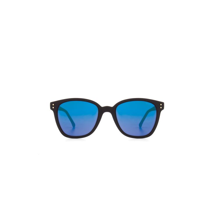 Lunettes de soleil Renee Black Rubber Blue Mirror - WayOutfitters