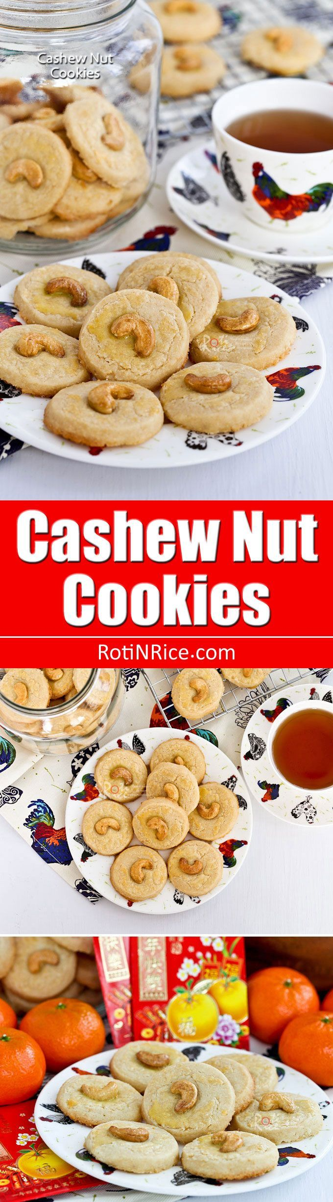 These buttery Cashew Nut Cookies have a crumbly sandy texture and a deliciously nutty flavor. Perfect for afternoon tea or the holidays. | http://RotiNRice.com