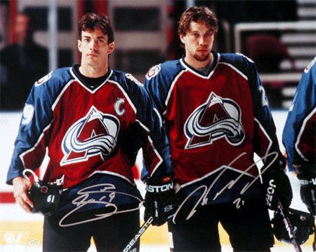 Joe Sakic and Peter Forsberg, Colorado Avalanche- the guys I grew up watching & my faves<3 (and of course Roy!)