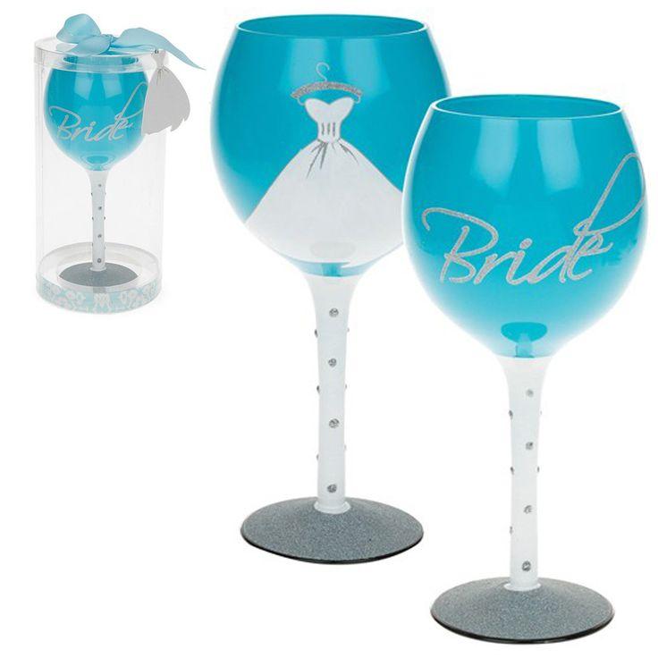 Regalo Di Nozze Bianco E Blu Bicchiere Vino - Sposa | eBay