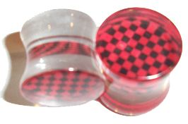 Checkered Plugs Clear #acrylic flared plugs have an insert, in the center of the plugs, of a black & white or black & red (shown) #checkered pattern. Select from the black & white in 4g, 2g, 0g & 00g or the black & red in 4g, 0g & 00g. Sold as a pair. $15.00  #plugs #piercing #gauge #stretched #bodyjewelry