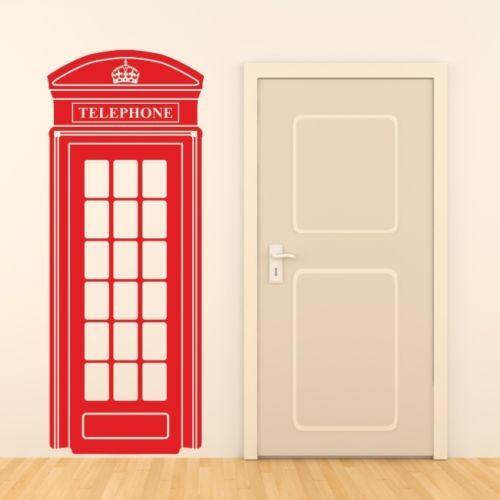 LONDON TELEPHONE BOX wall sticker retro uk phone decal mural art vinyl decor