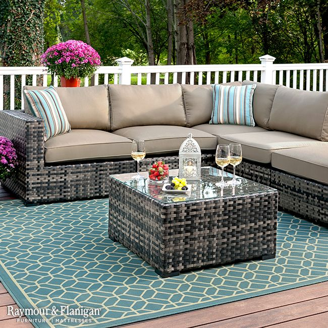 Add life to your outdoor patio with a gorgeous sectional like this. Inspired by furniture made popular at island resorts, this grouping's stylish basket-weave wicker design will have your deck or patio looking like an exotic retreat in no time.
