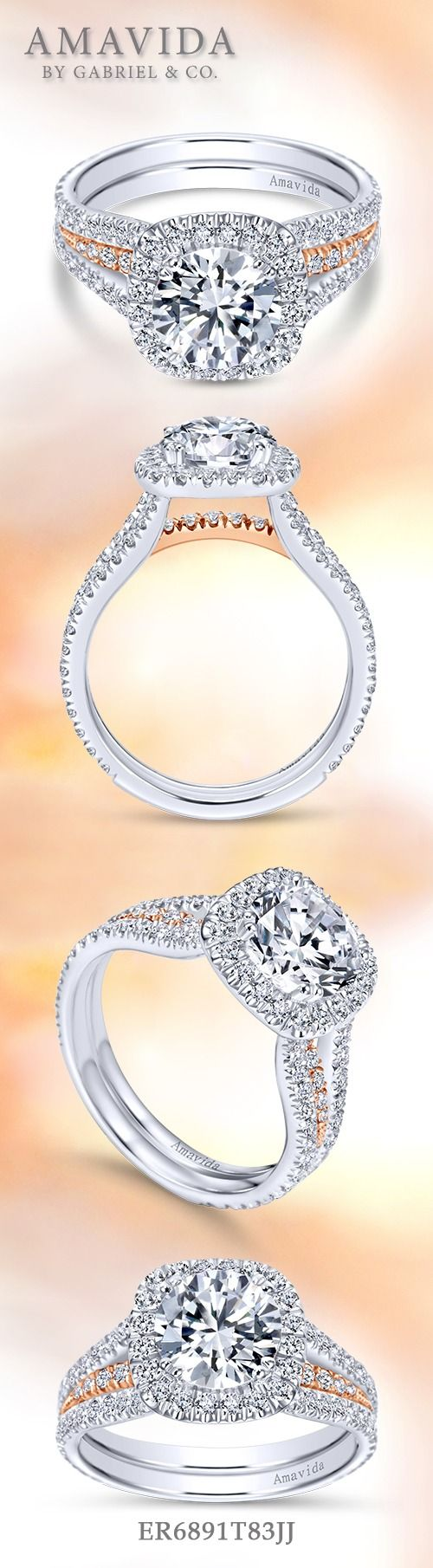 Gabriel & Co.-Voted #1 Most Preferred Fine Jewelry and Bridal Brand. 18k White/Rose Gold Round Halo  Engagement Ring