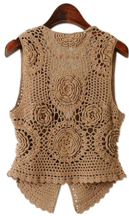 Crochetemoda: бежевый крючком жилет