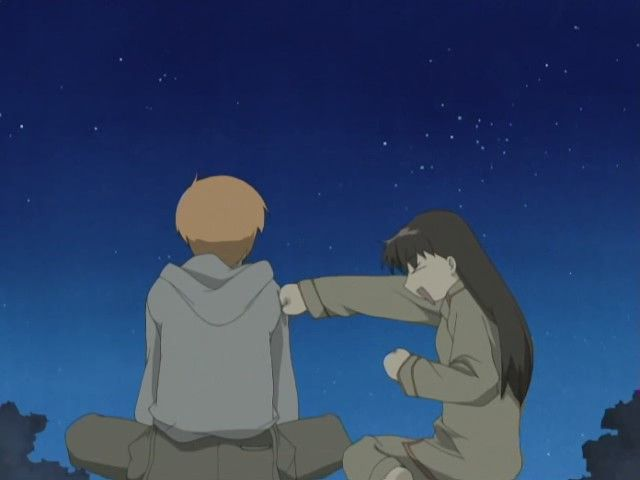 """Tohru and Kyo on the roof. Such a sweet scene in both the manga and the anime. <3 """"Right straight punch!!"""""""