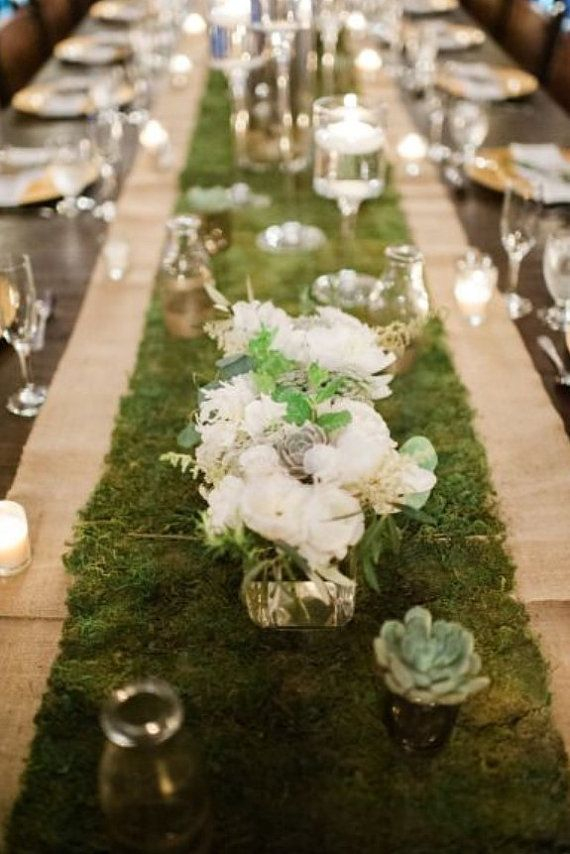 £16, 36x120cm Wedding artificial x1 Moss/Grass table runner centrepiece... Perfect for a rustic country garden wedding theme... Approx measurements are: