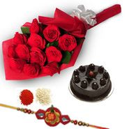 rakhi with delicios chocolate cake and beautiful red rosee