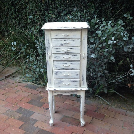Pretty Jewelry Box Large Floor Standing Jewelry Organizer With Green Lining  Shabby Chic French Country