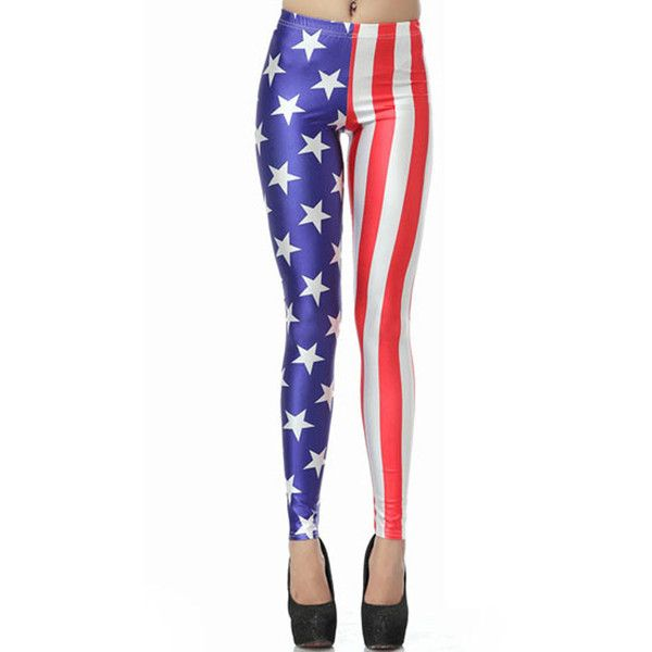 Muiticolor American Flag Print High Waist Stretchy Leggings ($21) ❤ liked on Polyvore featuring pants, leggings, american flag leggings, high rise leggings, high waisted trousers, american flag pants and white stretch pants