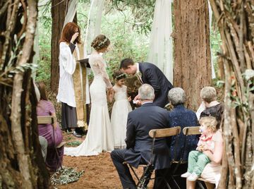 "In additon to the bride and groom exchanging vows with each other, the wedding ceremony can be a heartfelt time for the new stepparent to express his or her commitment to their new children. One of mom Rachael's favorite moments at her wedding in a redwood tree circle south of San Francisco was ""my daughter being an essential part of the ceremony and the look on her face as Cooper expressed his vows to her,"" she told Style Me Pretty. Not sure what to say? Offbeat Bride has a collection of…"