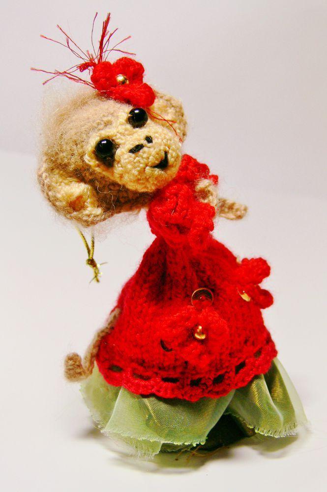 Мастер-класс Обезьянка Кармен Вязаная ёлочноая игрушка .Описание вязания - Ярмарка Мастеров - ручная работа, handmade