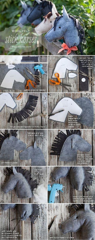 Ein Pferd für den Ritter... DIY: Felt Stick Horses #ritter #verkleidung #pferd #stockpferd #fasching