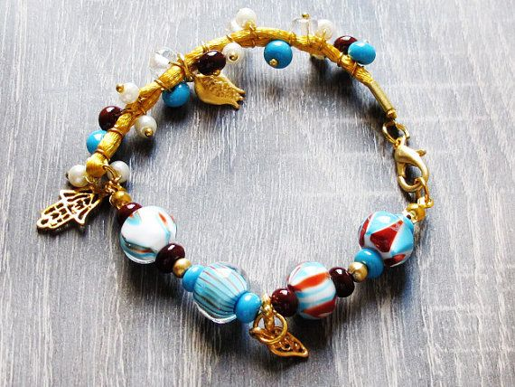 Turquoise Brown Lampwork Bracelet Glass Bead by GlassHouseLampwork