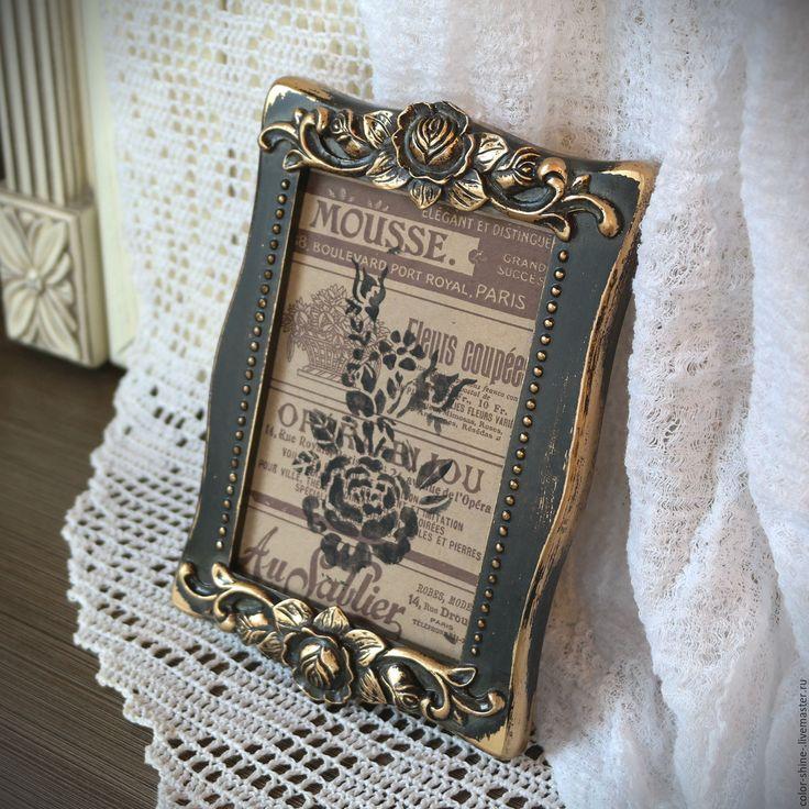 """Купить Фоторамка """"Розы Антуанетты"""" с имитацией бронзы - золотой, бронза, рамка для фото, шебби-шик"""