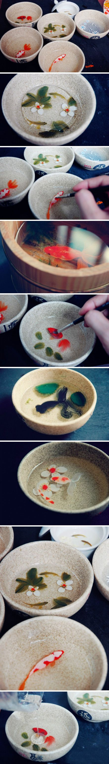 Multi-layered paintings in mugs/bowls for a 3D effect with koi fish and flowers <3