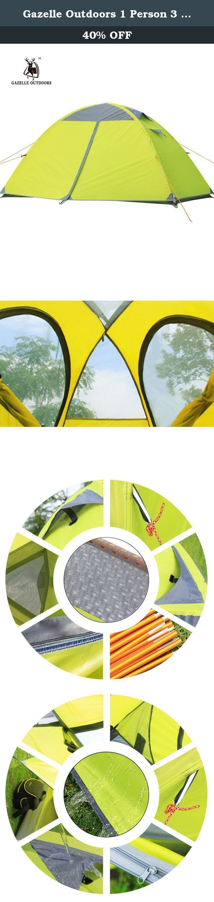 Gazelle Outdoors 1 Person 3 Season Double Layer Backpacking Tent, Waterproof Aluminum Rod, for Outdoor, Camping, Hiking, Travel (Yellow). - Easy to install. One person can install the tent easily and quickly.With high-strength aluminum poles, lightweight and it can stand high pressure. - Tent door uses two-way zipper, both sides can be tighten, especially add the door curtain pull clasp, more convenient and durable. - Two sides of the ventilation windows can be closed or open freely, it…