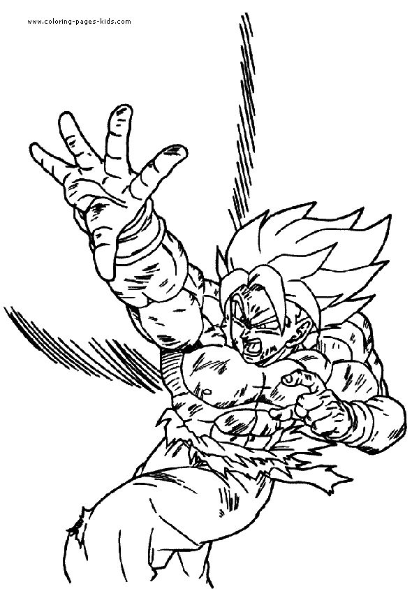 Dragon Ball Z Color Page Cartoon Pages Printable Coloring For Kids To Make Your Own Book Sheets