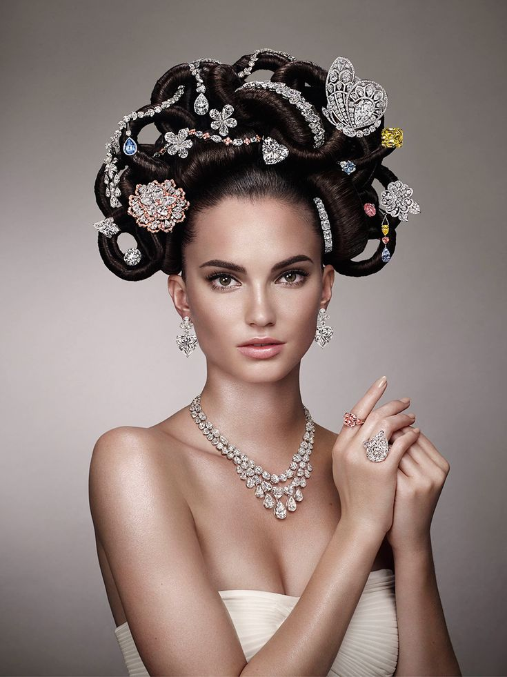 This year, Graff Diamonds has recreated its iconic 1970s 'Hair and Jewel' image featuring 22 extremely rare and unique jewels with a value of half-a-billion dollars