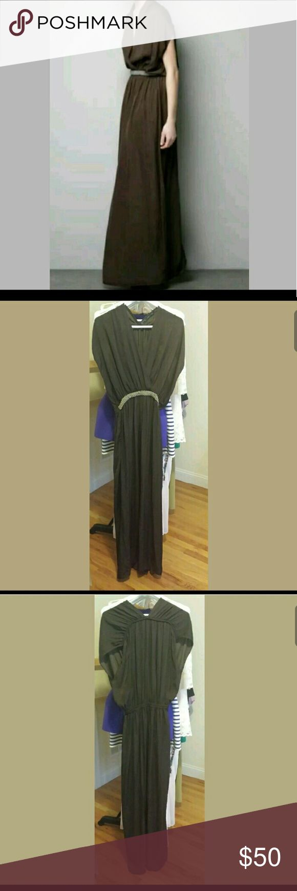 Zara Brown Maxi Dress Sz S/M Never worn.  Excellent condition.  Size S but can fit u to a M.  Loose fit...runs a bit large for typical Zara. Zara Dresses Maxi