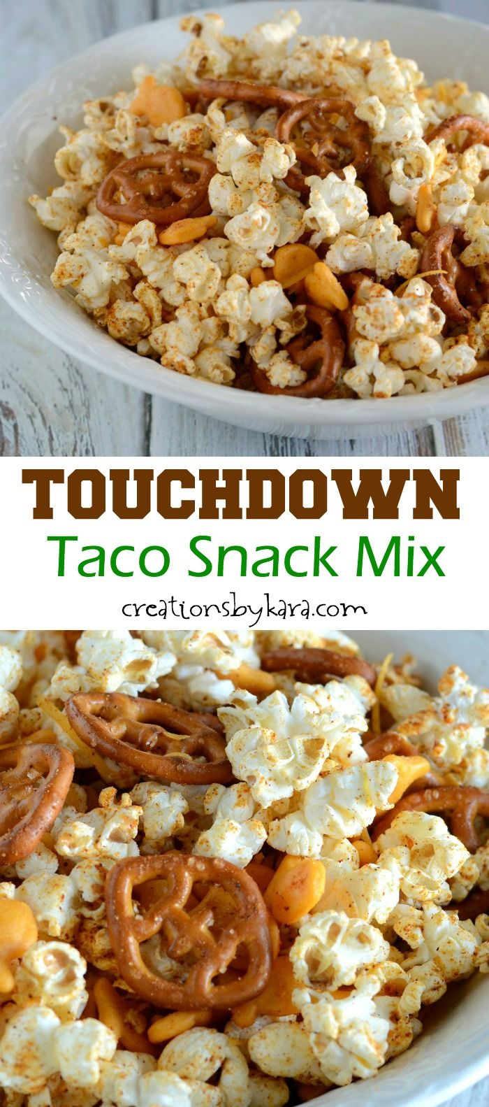 Recipe for Taco Snack Mix with popcorn. Perfect for game day!