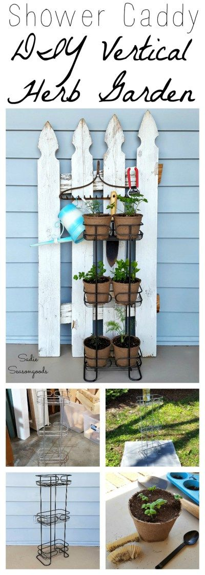DIY front porch Spring herb garden using a repurposed upcycled standing vertical metal wire shower caddy by Sadie Seasongoods / www.sadieseasongoods.com