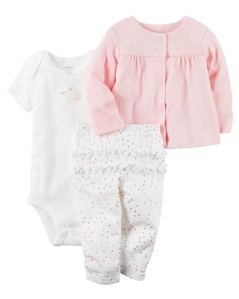 8892d60d7ac NWT Carters Baby Girl Clothes 3 Months 3 Piece Bunny Jacket Bodysuit Pants  Set  fashion  clothing  shoes  accessories  babytoddlerclothing ...