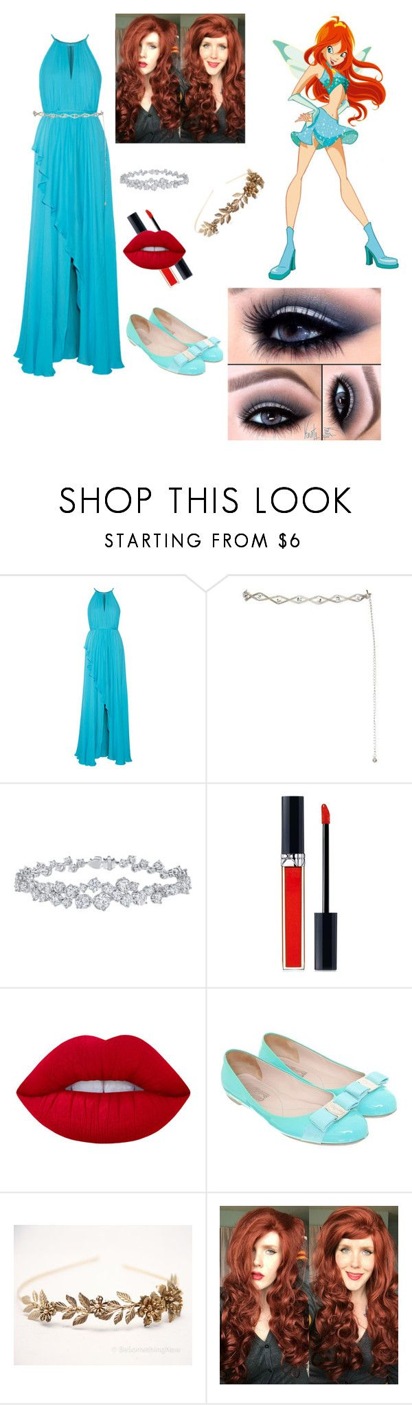 """""""Bloom ( Winx Club ) costume💙"""" by thepolyjuicepotion ❤ liked on Polyvore featuring Badgley Mischka, Harry Winston, Christian Dior, Lime Crime and Salvatore Ferragamo"""