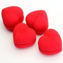 10 UNIDS YOST! 4 unids Esponja Suave Cuidado Del Cabello Rizador de DIY Bolas de Rodillos En Forma de Corazón Rojo(China (Mainland))