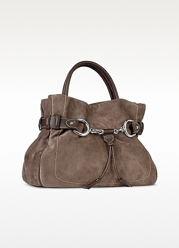 Buti   --   Brown Taupe Suede and Leather Satchel Bag