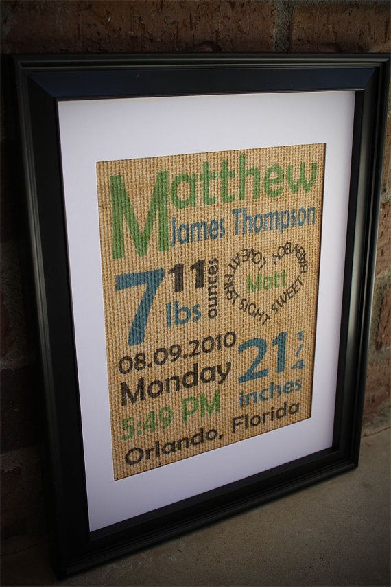 8x10 Color Baby Boy Birth Stats Burlap Subway by BurlapPrintShop, $30.00
