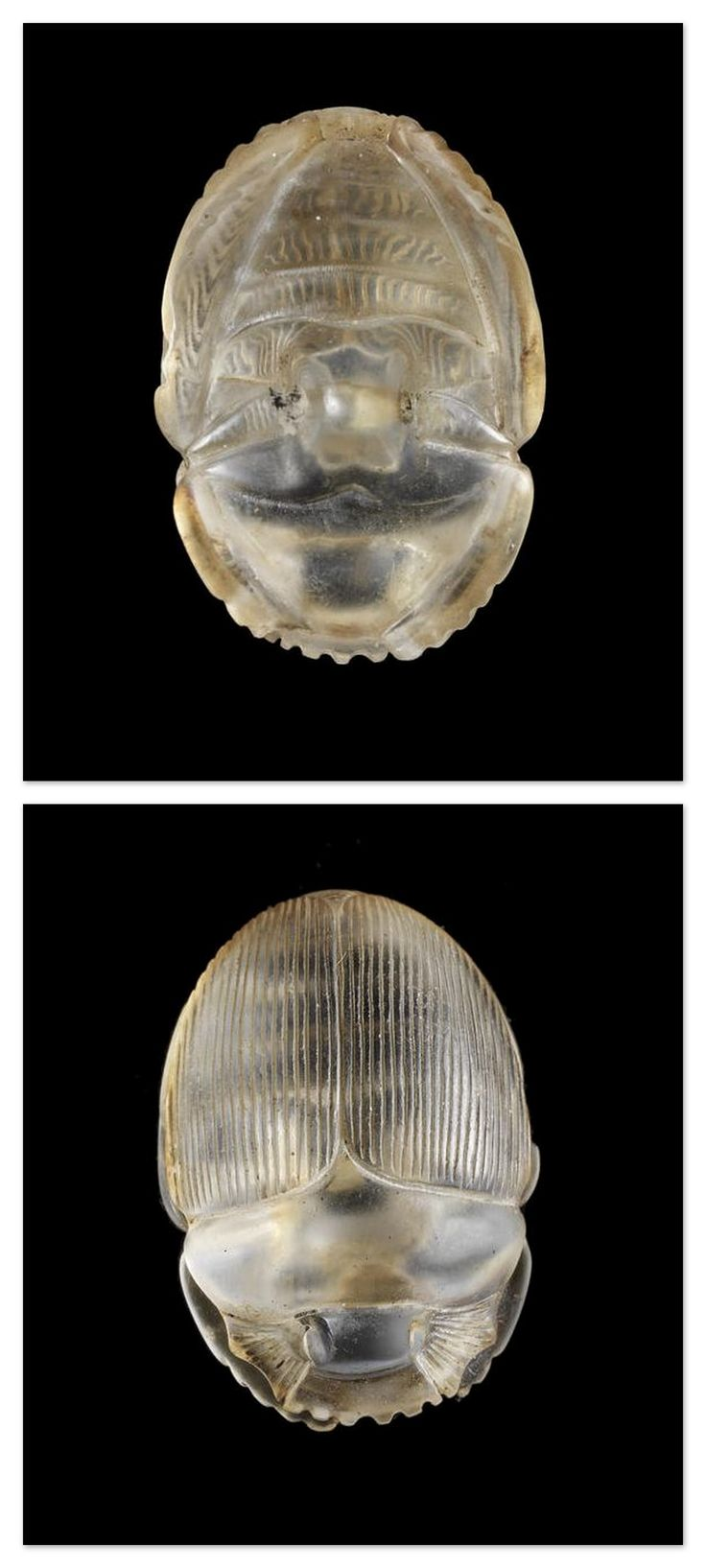 An Egyptian rock crystal scarab. Late Period, circa 664-332 B.C.