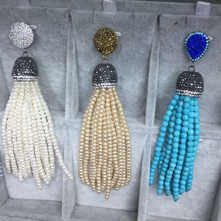 shinning rhinestone buttone plastic beads tassel bead tassel dangle stud earring