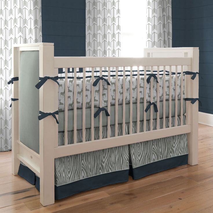 Blue And Taupe Paisley 3 Piece Crib Bedding Set