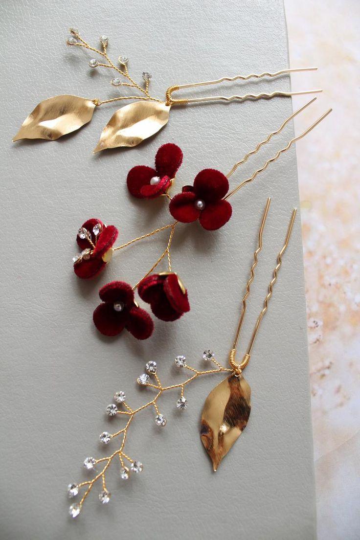 Gold burgundy bridal hair pins wedding hair pins wedding