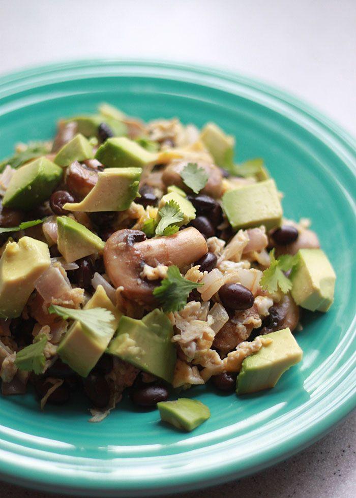 10-minute breakfast for 2: Black Bean, Mushroom, and Avocado Breakfast Scramble