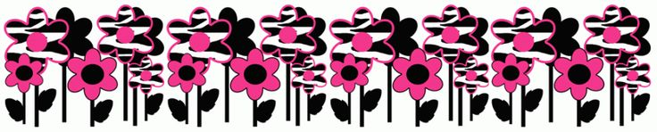 Hot Pink Zebra Flowers 2 Wall Border
